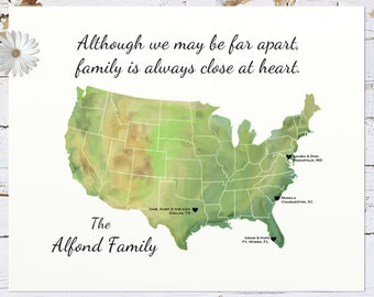 Long Distance Gift Custom Family Art Us States Map Print Personalized Gift For