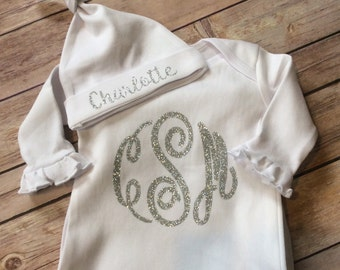 Silver monogrammed gown