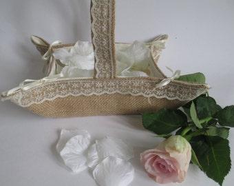 Handmade Wedding Flower Girl Basket, Burlap flowergirl basket, Wedding Basket