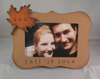 Fall in love wedding frame, fall decor, autumn leaves, anniversary gift for him her
