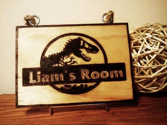Dinosaur bedroom sign for kids jurrasic park inspired for Signs for kids rooms