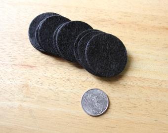 """50 Black 1.5"""" (40mm) Felt Circles"""