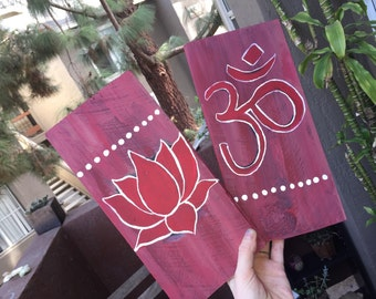 Om and Lotus Wood Plank Wall Hanging Decor