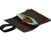 tobacco bag - cork leather - brown