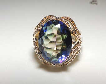 Mystic Rainbow  Sterling Silver Gold Washed Filigree Ring