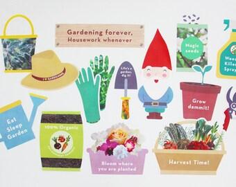 Garden Party Photo Booth Props, Gardening Photo Booth Props, Party Printable | INSTANT DOWNLOAD