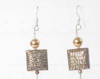 14 kt Yellow Gold and silver  plated dangle earrings