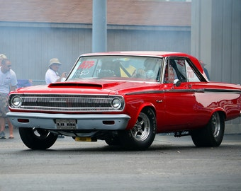 Poster of Dodge Pro Street Hemi Coronet Red Left Front HD Print