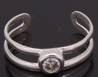 Toe Ring Silver With CZ Stone Handmade Made In USA