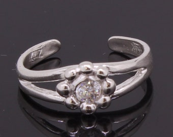 Flower Toe Ring Sterling Silver 925 With CZ Round Stone