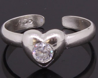 Heart Shaped Adjustable Toe Ring Sterling Silver With CZ Stone