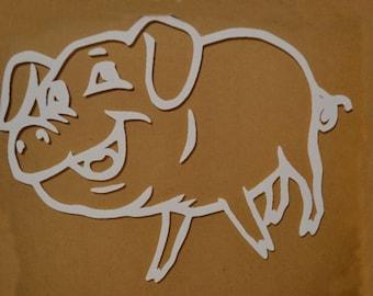 "Window Decal, Pig, 10"" x 7.75"", ST-019d"