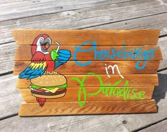 Cheeseburger in Paradise Jimmy Buffett painting on reclaimed wood sign - tiki bar - Margaritaville