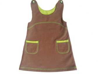Girls pinafore dress, eco fleece dress, grey brown, pinafore with pockets