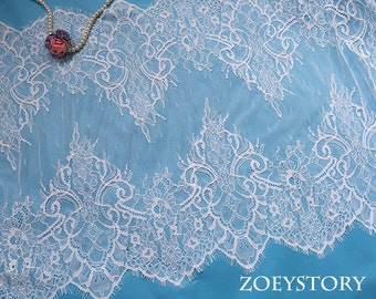 Chantilly Lace Trim, Table Runner Lace, Bilateral French Style Soft Lace Trim, Off White, Width 40cm x 3 Meters
