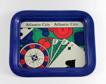 Vintage Tin Tray Atlantic City Advertisment, Casino Serving Tray, New Jersey Casino Ad Tin Tray, Tin Serving Tray