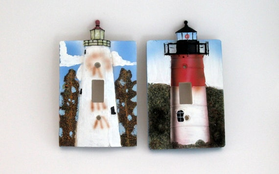 Vintage light switch cover lighthouse light switchplate for Lighthouse switch plates