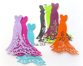 Set of 15 Elegant Gown-Dress Cut outs, scrapbooking embellishments- Choose Your Colors