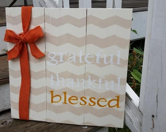 Grateful thankful blessed sign, Thanksgiving signs, fall signs, fall decor