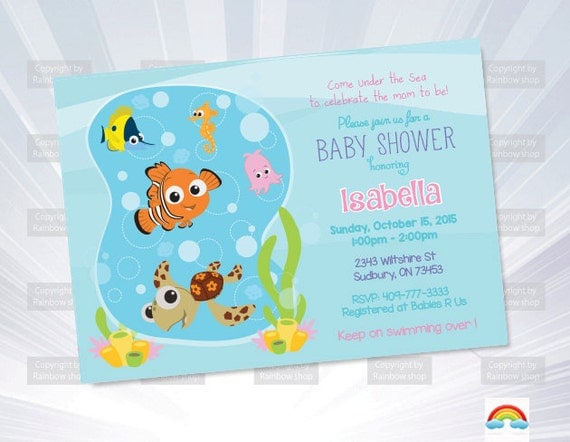 finding nemo invitation baby shower invitation boy invitation
