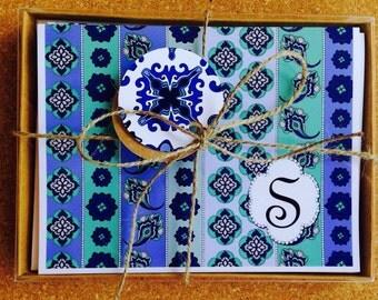 Personalized Note card Monogram Boho - SKY ZEN