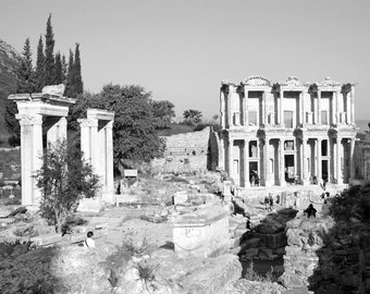 Greek Ruins, Black and White Photography, Ephesus, Turkey, Ancient Greek City, Library, Landscape, Travel Photo, Fine Art Print, Wall Art