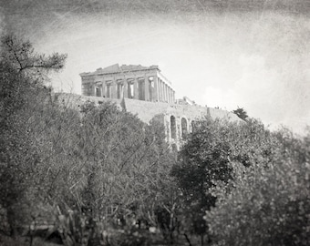 Athens, Parthenon, Acropolis, Ruins, Greece Photography, black and white, Architecture, Travel Photo, Europe, Fine Art Print, Home Decor