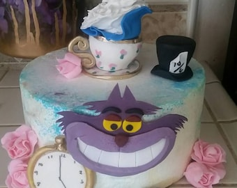 edible alice in Wonderland cake topper set