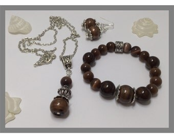Brown charm's set, necklace, bracelet and earrings ref 547