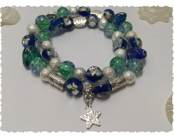 Bracelet beads double with dangle shades blue, green ref 557