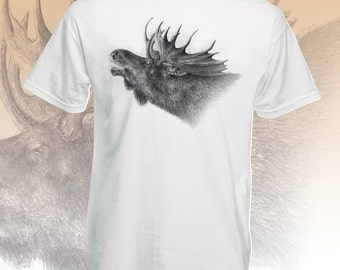 Nature t shirts. Moose shirt. Graphic tees for men. Outdoorsman gift for hiker, mountain climber. Wildlife art black white tshirt for guys