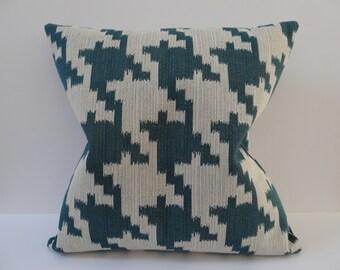 Teal pillows, Houndstooth pillows, Blue pillow cover, Blue Houndstooth pillow cover