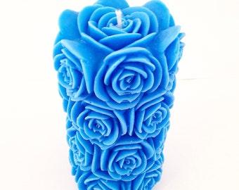 Large Pillar Candle, Blue Pillar Candle, Unscented Candle, Tall Candle, Floral Candle, Shaped Candle, Hand Made Candle, Pillar Candle