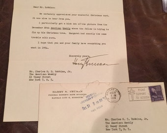 President Harry S. Truman signed letter 1953