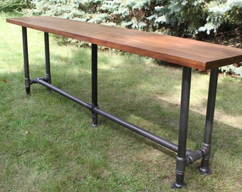 The Foundry Table Reclaimed Bar Table Hardwood Solid American Black Walnut Bar  Table Pub Table Conference