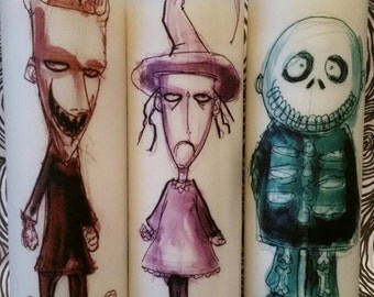 """Nightmare Before Christmas Lock, Shock, and Barrel 8"""" Candles"""
