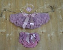 Baby Girls Dusty Pink Pettiskirt Tutu, Diaper Cover Bloomer and Headband Outfit - Vintage Pink Pettiskirt - Ready to Ship.