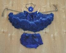 Navy Blue Baby Girl RufflesTutu Pettiskirt, Diaper Cover and Headband Outfit.