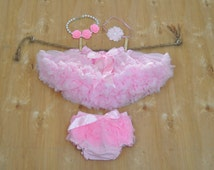Baby Girls Pink Pettiskirt Tutu, Diaper Cover Bloomer, Headband & Rosette Necklace Outfit - Ready to Ship.