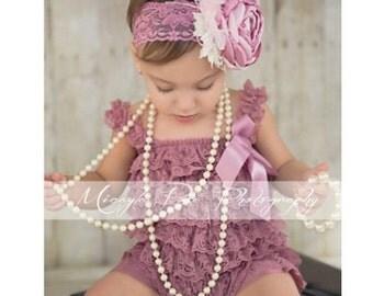Strawberry Rose Headband. Muave Headband. Blush and pink headband Baby headband. Shabby Chic Headband