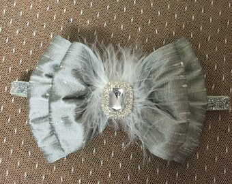 Silver Silk Bow- Headband Big Bow