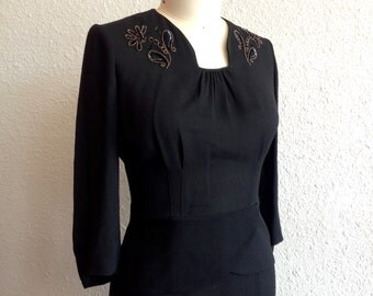 1930s beaded black rayon dress