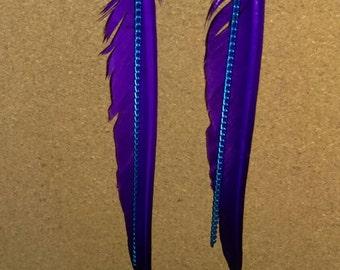 Purple fashion feather earrings