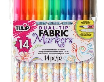 14 Fabric Markers, Dual Tip, Extra Fine-Tip and Brush Tip 14; Tulip Colored Fabric Paint Markers