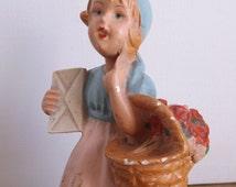 Vintage Hummel Style Girl Figurine -dutch girl, blue and pink, kitschy, decor