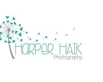 Custom photography logo, premade logo design, whimsical dandelion teal logo