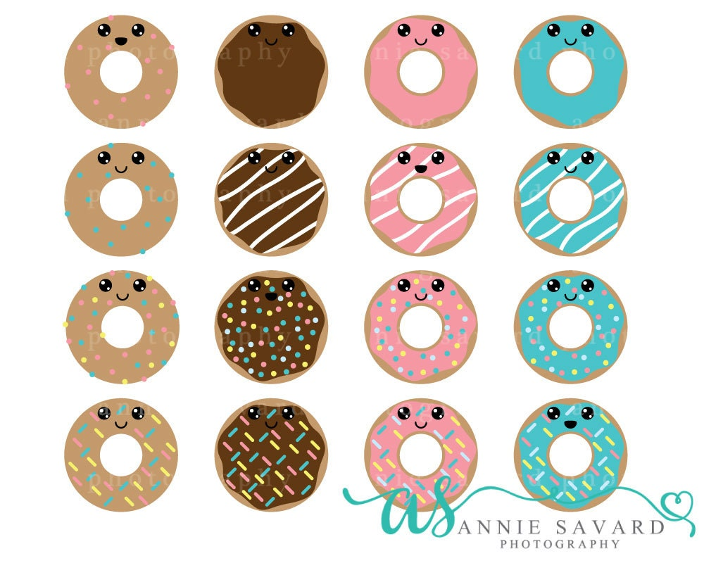 Kawaii Donut Clipart Sweet Doughnut Chocolate Blue Pink