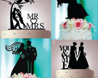 Personalized wedding cake topper, Wedding cake topper laser cut black acrylic, silhouette gift, monogram, custom wedding cake topper