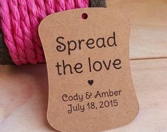 25 Spread the Love Tags, Custom Fall Wedding Favor Tags, Fall Wedding Spread the Love Tags