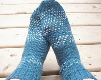Hand Knitted Wool Socks Hand Knit Wool Socks Women Knit Socks Wool  Socks Feet 7-9 US shoe size Ready to ship
